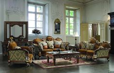 Leather & Fabric Traditional Sofa Set Formal Living Room Furniture HD-26 (KD)