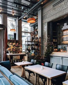 charming, chic restaurant design Curtains happen to have been increasingly un… Deco Restaurant, Restaurant Design, Cafe Bar, Cafe Design, House Design, Interior Design, Commercial Design, Commercial Interiors, Mein Café