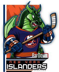 Nhl Logos, New York Islanders, National Hockey League, Cool Cartoons, Art Pages, Ice Hockey, Cartoon Characters, Pop Art, Monster Trucks