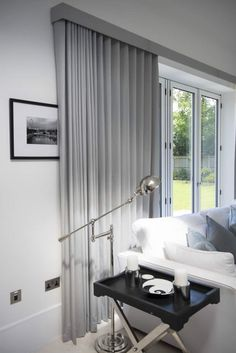 Curtains on Wave Tracks.,Ripple fold curtains on tracks over bifold doors Curtain monitor or curtain pole? The most common types of fastening for curtains are rods and rails. Curtain Pelmet, Curtains Uk, Ceiling Curtains, Luxury Curtains, Curtains Living, Curtains With Blinds, Curtain Fabric, Wood Blinds, S Wave Curtains