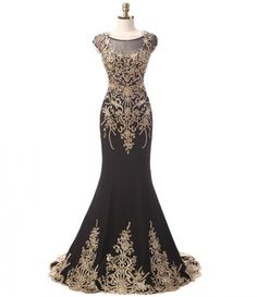 Elegant Black Mermaid Evening Dresses Prom Gowns Long Beaded Gold Lace Mother of The Bride Dresses Women's Formal Dress