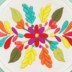 No photo description available. Mexican Embroidery, Crewel Embroidery, Ribbon Embroidery, Cross Stitch Embroidery, Embroidery Stitches Tutorial, Hand Embroidery Designs, Embroidery Patterns, Bird Applique, Fabric Painting