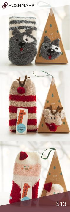 """Cute Gray Dog Fuzzy Socks w/ Stocking Ornament Box These cute fuzzy gray dog socks comes with an easy to assemble ornament box as pictured. Also available in reindeer, orange fox, and Santa as in the other pictures. Makes great stocking stuffers and a cute ornament.  Socks measure approximately 11"""" x 3.25"""" and come with an easy to assemble box.  Let me know if you have any questions. Happy to help. :) Accessories"""