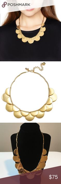 kate spade Sweatheart Scallop Gold Necklace  Semicircle beads create a scalloped effect on this kate spade necklace. Adjustable length and lobster claw. This necklace has never been worn, but one of the beads shows some wear from hanging on my necklace rack. Not at all noticeable when wearing. kate spade Jewelry Necklaces
