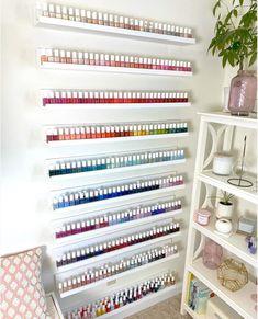 how to get nail polish shelves just like this! Home Beauty Salon, Home Nail Salon, Nail Salon Design, Salon Interior Design, Nail Polish Wall Rack, Nail Polish Storage, Tech Room, Nail Station, Beauty Room Decor