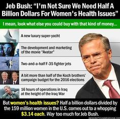 """Jeb Bush: """"I'm not sure we need half a billion dollars for women's health issues.""""I mean, look what else you could buy with that kind of money...--A new luxury super-yacht--The development and marketing of the movie 'Avatar'--Two-and-a-half F-35 fighter jets--A bit more than half of the Koch brothers' campaign budget for the 2016 elections--16 hours of operations in Iraq at the height of the Iraq War.. But women's health issues? Half a billion dollars divided by the 159 m women in the U.S..."""