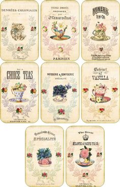 Vintage Inspired Tea Cup Company Scrapbooking Crafts ATC Altered Art Set 8