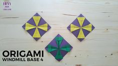 How to make an origami windmill base variation Origami Wall Art, Origami Quilt, Diy Origami Earrings, Origami Windmill, Paper Quilt, Origami Tutorial, Artsy Fartsy, Coasters, Paper Crafts