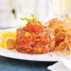 Un tartare de saumon vite préparé au bon p'tit goût fumé!