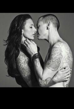 Chester Bennington and wife Talinda. Beautiful photo! #sexy #tattooed #couple #love #music #LP
