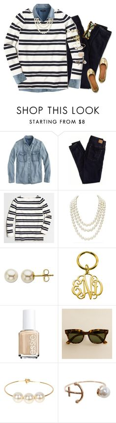 """""""you can never go wrong with a little gold"""" by gourney ❤ liked on Polyvore featuring J.Crew, American Eagle Outfitters, Chanel, Lord & Taylor, Essie, Jules Smith, Humble Chic, Tory Burch, women's clothing and women"""