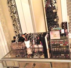 pier one hayworth vanity. Makeup collection and storage. Muji acrylic storage