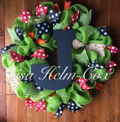 Green mesh wreath, personalized