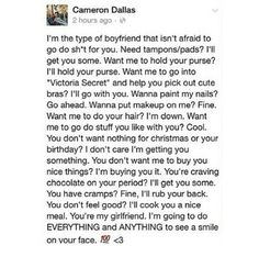 He's either full of shit or some woman somewhere is the luckiest person EVER. I need Cameron Dallas as my BF Relationship Texts, Cute Relationship Goals, Cute Relationships, Cameron Dallas, Cam Dallas, Boyfriend Goals, Future Boyfriend, Wanting A Boyfriend, Ideal Boyfriend