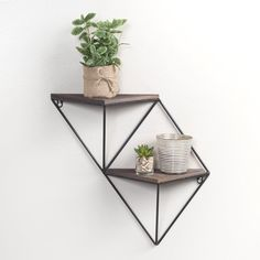 Two Step Wood and Metal Geometric Wall Shelf Black - Patton Wall Decor Unique Wall Shelves, Industrial Wall Shelves, Diy Hanging Shelves, Plant Shelves, Metal Shelves, Wall Shelving, Shelving Ideas, Wall Storage, Industrial Style