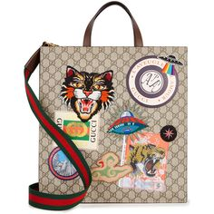 Gucci Angry Cat GG Supreme Tote ($1,595) ❤ liked on Polyvore featuring bags, handbags, tote bags, monogrammed purses, taupe tote, cat tote, cat tote bag and handbags totes