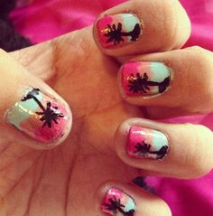 Sunset palm tress ^.^  nail art