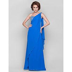 Sheath/Column One Shoulder Floor-length Chiffon Mother of the Bride Dress(551477) – USD $ 179.99