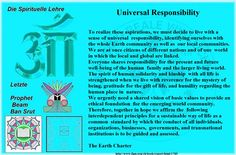 Universal Responsibility  To realize these aspirations, we must decide to live with a sense of universal  responsibility, identifying ourselves with the whole Earth community as well as  our local communities. We are at once citizens of different nations and of one  world in which the local and global are linked. Everyone shares responsibility for the present and future well-being of the human  family and the larger living world. The spirit of human solidarity and kinship  with all life is…