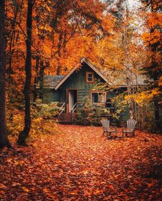 Beautiful World, Beautiful Places, Beautiful Homes, Beautiful Pictures, Cabin In The Woods, Autumn Cozy, Autumn Fall, Autumn Leaves, Autumn Scenery