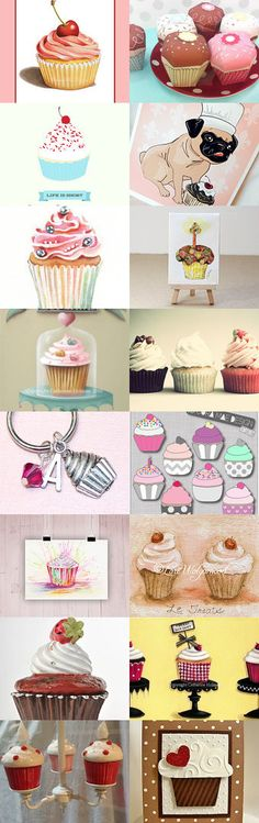 cupcakes by Yair Crespi on Etsy includes my Pink Cupcake print - Pinned with TreasuryPin.com #PatriciaSheaDesigns Cupcake Illustration, Cupcake Pans, Love Cupcakes, Bakery Ideas, Quote Board, Valentine Decorations, Cup Cakes, Cake Art, Pin Cushions