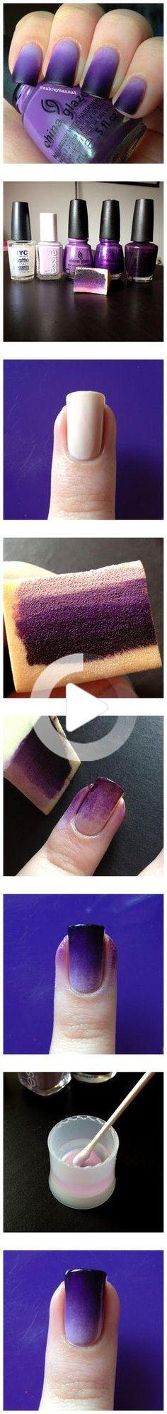 Purple Ombre Nails Fancy Nails, Love Nails, Trendy Nails, Diy Nails, Nail Polish Designs, Cute Nail Designs, Art Designs, Nails Design, Design Art