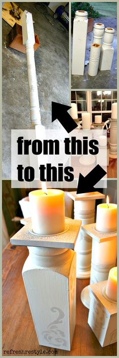 Create Candle Holders - This is a porch post but any turned piece of wood would work. #diyproject #candleholder #upcycle