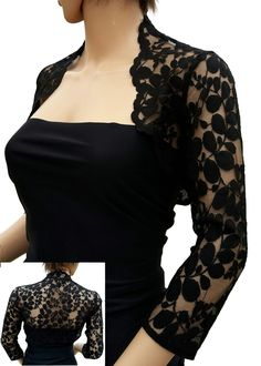 Womens Black crop leaf Design Lace half sleeve Bolero , Jacket Sizes UK 8 to 20 Elegant Dresses, Cute Dresses, Long Dresses, Lace Bolero Jacket, Lace Shrug, Shrug For Dresses, Jackets Uk, Black Women Fashion, Mode Inspiration