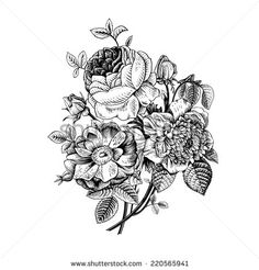 Floral card. Bouquet of roses, dog-rose and anemone. Vintage vector illustration. Classic. Black and white. - stock vector