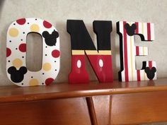 Hand Painted Mickey Mouse Inspired One Year by PrettyCustomGifts