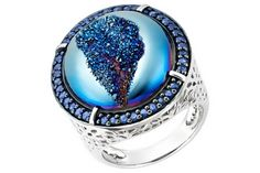 DRUSY BLUE AGATE AND BLUE SAPPHIRE STERLING SILVER RING W/BLUE RHODIUM