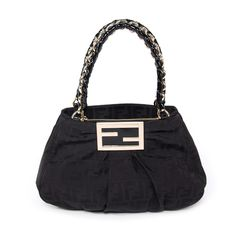 5dfb907240 Fendi Zucca Canvas Mia Bag Black Patent Leather, Hobo Bag, Gym Bag, Fendi