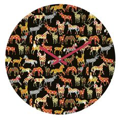 Sharon Turner Deer Horse Ikat Party Round Clock | DENY Designs Home Accessories