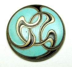 Antique French Enamel Button Turquoise & brass Art Nouveau Graphic Design