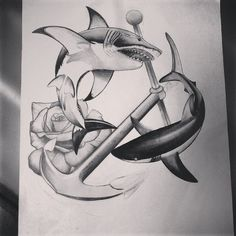 Shark Design Ying Yang for tattoo. Analisbet Luna