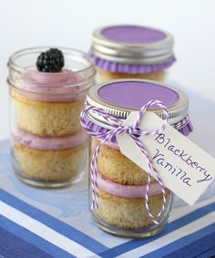 Blackberry Cupcakes in a jar - could make and freeze these, then pop one on the counter to thaw as needed! Great for a mom with a new baby...