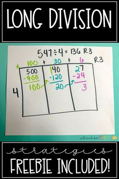 long division strategies for introducing long division. Perfect for grade. FREE long division practice maze Multiplication & Division for Kids Teaching Division, Math Division, Teaching Math, Division Area Model, 3rd Grade Division, Division Anchor Chart, Anchor Charts, Free Math Worksheets, Math Resources