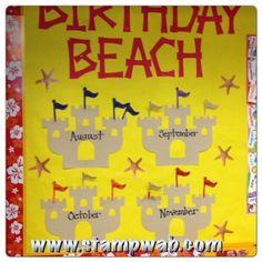 Hawaiian/Beach Theme classroom bulletin board www.stampwab.com
