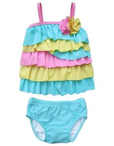Darling swimsuit for a day at the beach! Isobella and Chloe Aqua Pink SUGAR SWEET Ruffle Swimsuit Girls (sz 2T-6x) ~Color Me Happy Boutique