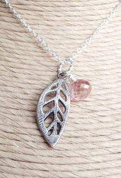 Silver and Gemstone Leaf Necklace Graceful Leaf