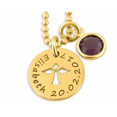 Eine wunderschöne, zarte Kette aus 925 Sterling Silber hochwertig vergoldet und nach Ihren Wünschen personalisiert. An der Kette hängt ein Geburtsstein und ein kleines Namensplättchen.