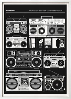 The second in our 'Blueprint' series celebrates a time before music became personal, 'Boomboxes' were all about sharing music (if you liked it or not!) and were as important as graffiti during the birth of Hip Hop in the late 70's and early 80's. Certain models are very collectable like the JVC RC-M90 immortalised by LL Cool J's 1985 album 'Radio' and the Beastie Boys who were often photographed with it. The JVC RC-550 from the late 70's was nicknamed 'El Diablo' by the Latino community and…