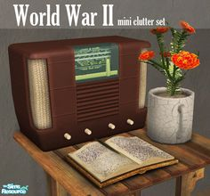 This is just a small collection of post-war items I made for the game. The set includes an old bakelite radio, marigold herbs potted in an old mug, and an old leather war diary with a feather...