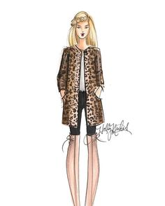 H. Nichols Illustration | Coats for Fall/Winter | Collarless Leopard Print Coat by Vince Camuto