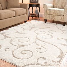"Ultimate Cream/Beige Shag Area Rug (5'3"" x 7'6"") 