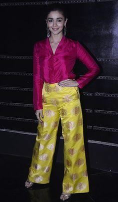 Bollywood actors Varun Dhawan and Alia Bhatt Promote 'Badrinath Ki Dulhania' on Indian Idol. Indian Bridal Fashion, Indian Wedding Outfits, Indian Outfits, Indian Dresses, Wedding Dress, Churidar, Anarkali, Lehenga, Kurti