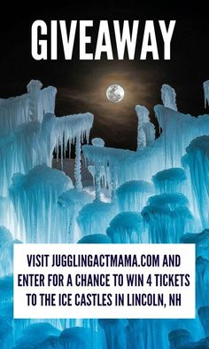Welcome to the Ice Castles NH Giveaway! If you live in New England, you have got to check out the Ice Castles in Lincoln, NH.
