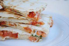 Vegan Caprese Quesadillas! Four ingredients, supreme flavor, melty wonder.