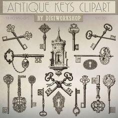 Antique Keys Clip Art Antique Keys Clipart by DigiWorkshop