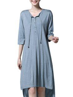 Mulheres do vintage 3/4 divisão manga irregular t -shirt longo